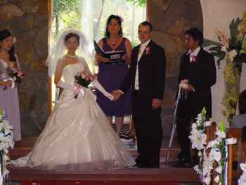 Adam Kaoru Traditonal White Wedding in the Coolibah downs Chapel at Nerang on the Gold Coast