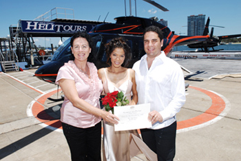 Marry Me Marilyn married Candy & Joe's on the Helitours Helicopter Wedding Marina Mirage Helipad on the Spit in the Northern Gold Coast