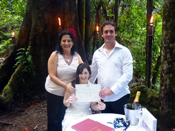 Handfasting Wedding by Marry Me Marilyn Clare & Damian Crytal Creek Rainforest Retreat They are presented with their Marriage Certificate