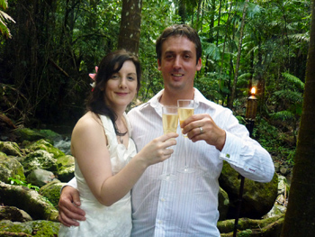 Damian & Clare from England held their intimate Handfasting Wedding with Marry Me Marilyn at Crystal Creek Rainforest Retreat NSW they are toasting their Marriage with Champagne