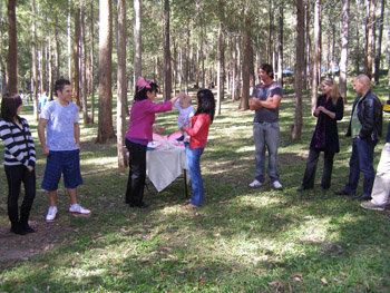 Conch Shell Blessing For Tia at her Naming Ceremony Daisy Hill Forest Park Logan