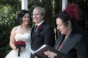 Marry Me Marilyn married Courtney and Michael at Pethers Rainforest Retreat on Mt Tamborine Gold Coast