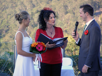 Marry Me Marilyn Officiated at Vicki & David Wedding Ceremony by the pool at the Wings Hinterland Retreat Tallai. The Gold Coast panorama was an amazing backdrop of bushland and high rise and ocean for their ceremony on the Central Gold Coast.