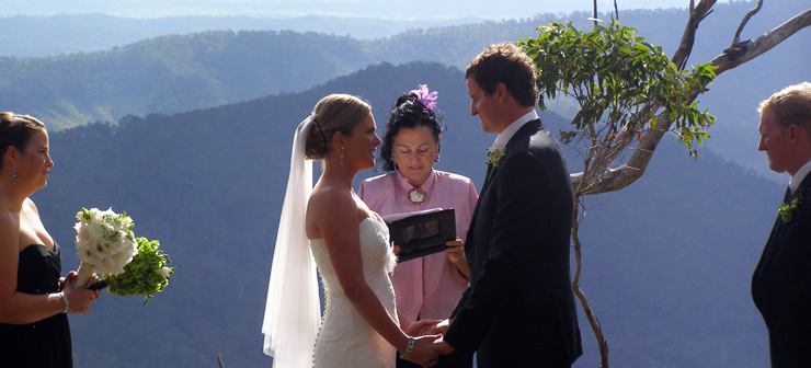 Marry Me Marilyn Wedding Celebrant married Elisa & Paul at O'Reilly's Rainforest Retreat in the Gold Coast Hinterland