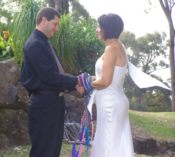 Julie and Aurelio celebrate their 20 year Wedding Anniversary with a Handfasting Renewal of Vows with Marilyn Verschuure at the romantic hinterland Ruffles Lodge on the Gold Coast.