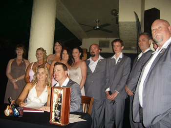 Marry Marilyn Wooden Wedding Box Ceremony for Kat & Brad at the Hard Rock Cafe Surfers Paradise