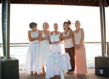 Louise & Debbie Commitment Sunset Park Bribie Island Queensland with Rainbow Pride Celebrant