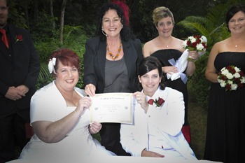 Maria & Sally from Mackay had their Commitment Ceremony at the Mt Ommaney Hotel Apartment's Wedding Garden in West Brisbane with Marilyn Rainbow Pride Celebrant Marilyn Verschuure