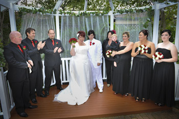 Maria & Sally from Mackay had their Commitment Ceremony at the Mt Ommaney Hotel Apartment's Wedding Garden in West Brisbane with Marilyn Rainbow Pride Celebrant