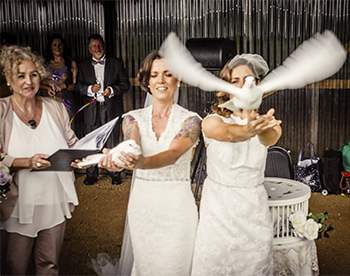 Rainbow Pride Celebrant Candice & Maisie Wedding Three Blue Ducks on the Farm Byron Bay Dove Release