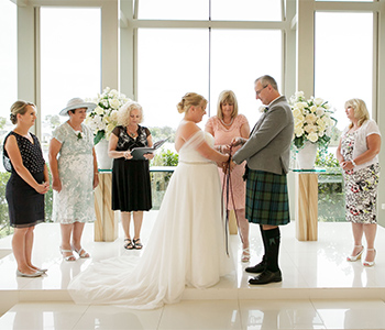 Marry Me Marilyn Caroline England & Mark Scotland Wedding Sanctuary Cove Chapel Intercontinental  Scottish Handfasting