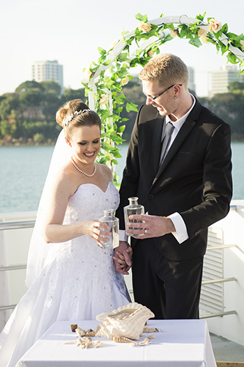 Marry Me Marilyn_Sand and Shell Ceremony_Philadelphia & Jack Wedding Charles Darwin Catamaran Darwin Harbour Darwin