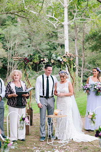 Marry Me Marilyn Wedding Celebrant Jodie Sean Wedding Polly's Kitchen Neranwood Gold Coat Hinterland Shell Ceremony