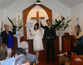 Marry Me Marilyn Kate & Michae_Red Healer Dog Wedding St Margaret's Chapel Gold Coast Arts Centre Surfers Paradise