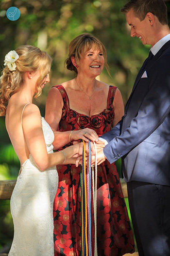 Marry Me Marilyn performs a Buddhist Handfasting for Rachel_Cameron's wedding at Boomerang Farm