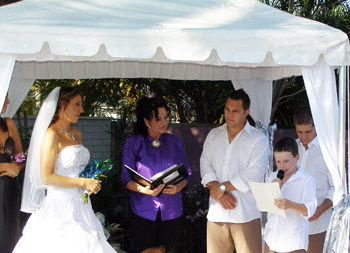 Riley read a poem he wrote for David & Melinda's Wedding at their Mermaid Waters home on the Gold Coast with Marry Me Marilyn
