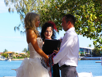Sara and Dan included a spiritual Handfasting in their Wedding Ceremony with Marilyn Verschuure at the Mooloola River Park in Mooloolaba on the Sunshine Coast in glorious Queensland.