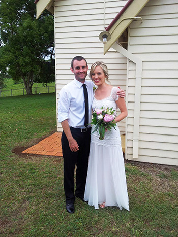 Sarah and Joe's Wedding with Marry Me Marilyn at St Aidan's Church Eureka in Northern NSW