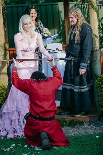 Marry Me Marilyn_Sarah & Gareth's Medieval Inspired Wedding Robertson Gardens Nathan Brisbane Viking Presentation of the Sword