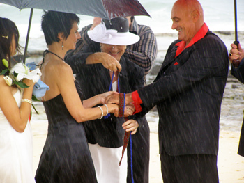 Fatima Gordon incorpaorated a Handfasting element into their Wedding Ceremony