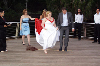 Wedding Handfasting VJumping the Broom Ceremony Gold Coast Botanical Gardens Benowa with Marry Me Marilyn Marilyn Verschuure Civil Marriage Celebrant Brisbane and Byron Bay