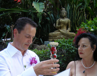 Marilyn and Marcel Verschuure celebrate a Conscious Marriage with a spiritual Wedding Ceremony infused with consciousness and love with Zen Buddhist offerings